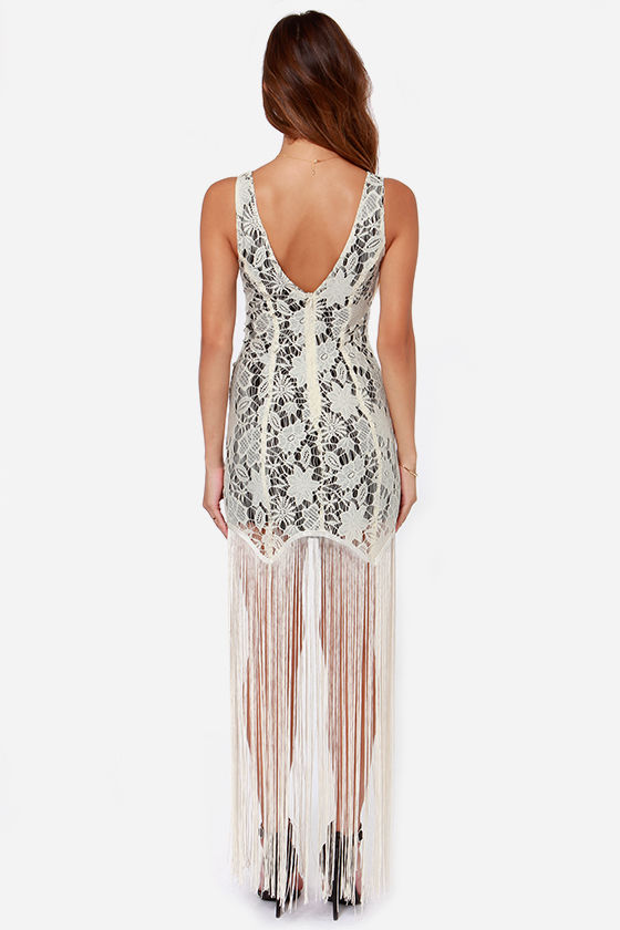 Gimme Shimmy Cream Lace Fringe Dress at Lulus.com!