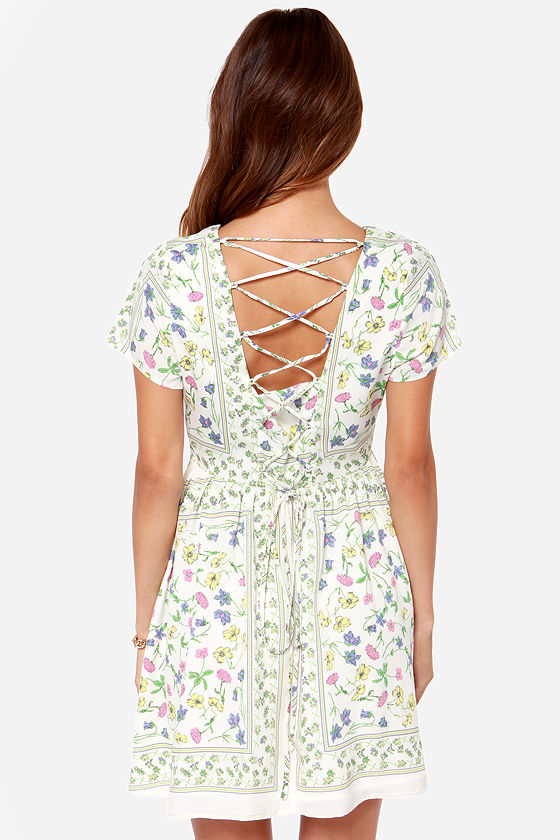 How Does Your Garden Grow? Ivory Floral Print Dress at Lulus.com!