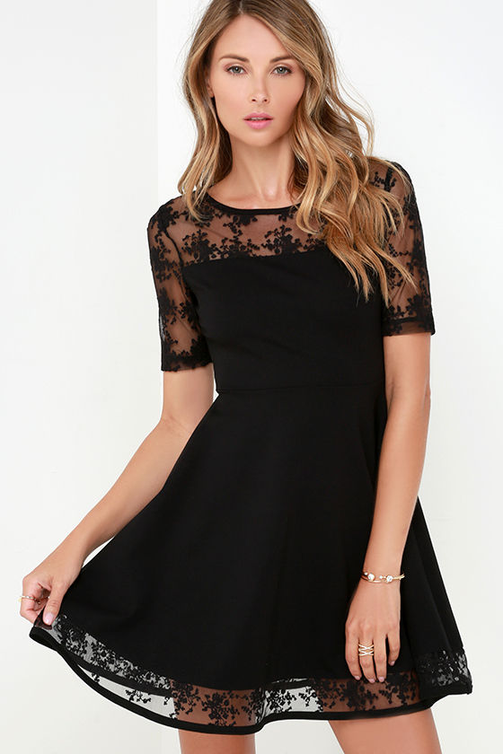 Beautiful Black Dress - Short Sleeve Dress - Mesh Dress - $83.00