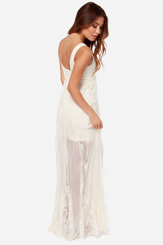 Make My Daydream Cream Lace Maxi Dress at Lulus.com!