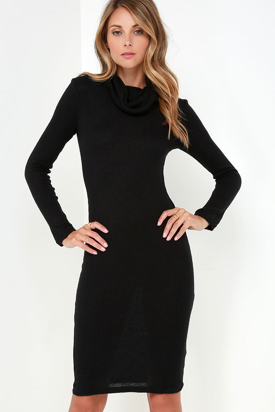Chic Black Dress - Ribbed Knit Dress - Bodycon Dress - Turtleneck ...