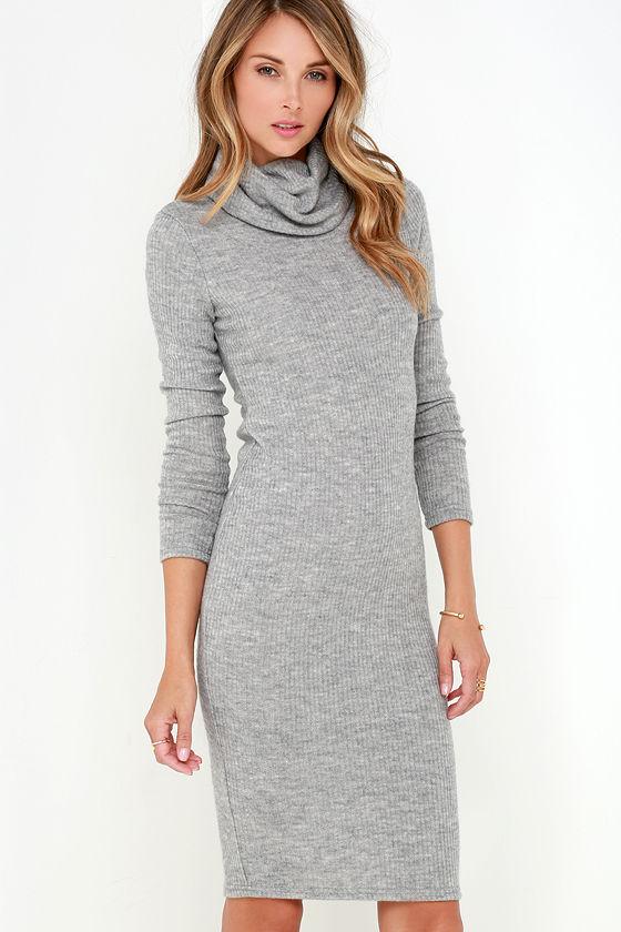 Chic Grey Dress - Ribbed Knit Dress - Bodycon Dress - Turtleneck Dress - $39.00
