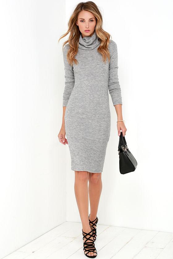 fbdb8f9036ca Chic Grey Dress - Ribbed Knit Dress - Bodycon Dress - Turtleneck ...