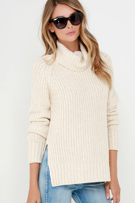 Cute Light Beige Sweater - Turtleneck Sweater - $67.00