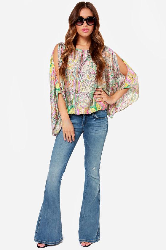 Top Prize Taupe Print Kimono Top at Lulus.com!