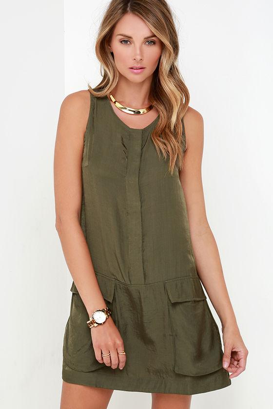 10a7bdc24e5fe Cute Olive Green Dress - Shift Dress - Pocket Dress -  47.00