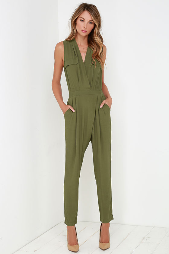 6ed01ac70d43 Stylish Olive Green Jumpsuit - Sleeveless Jumpsuit - Olive Green Romper -   54.00