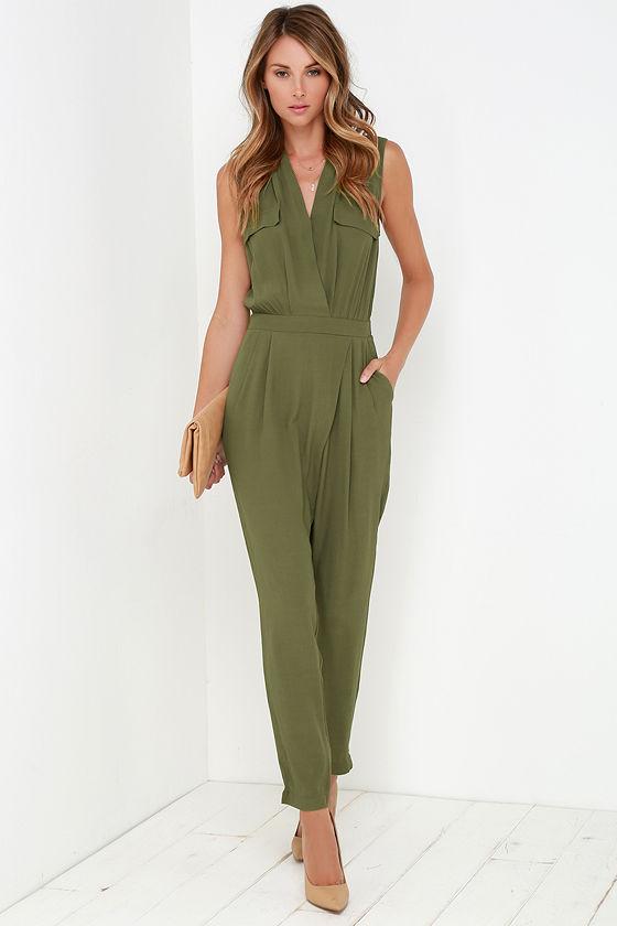 f822965071ef Stylish Olive Green Jumpsuit - Sleeveless Jumpsuit - Olive Green ...