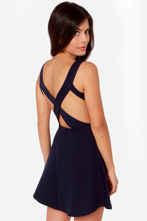 Flirty Navy Blue Dress Skater Dress Fit And Flare