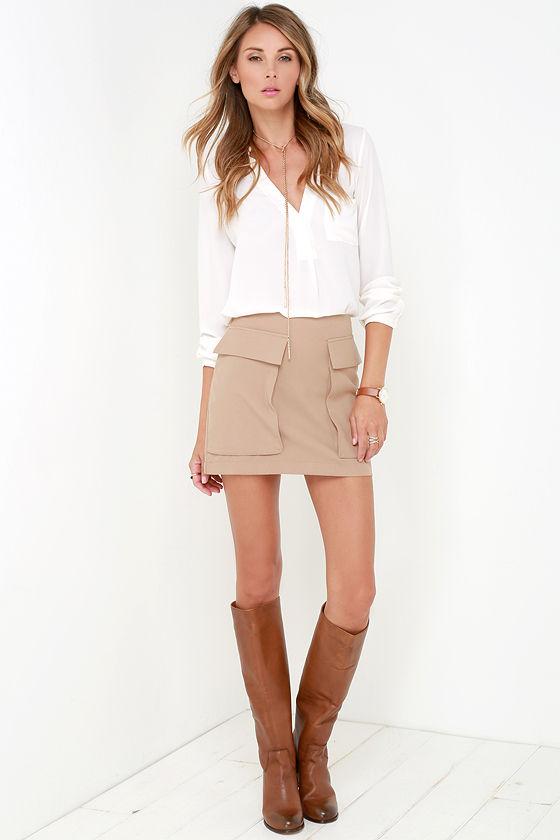 Chic Beige Mini Skirt - Mini Skirt - A-Line Skirt - $39.00