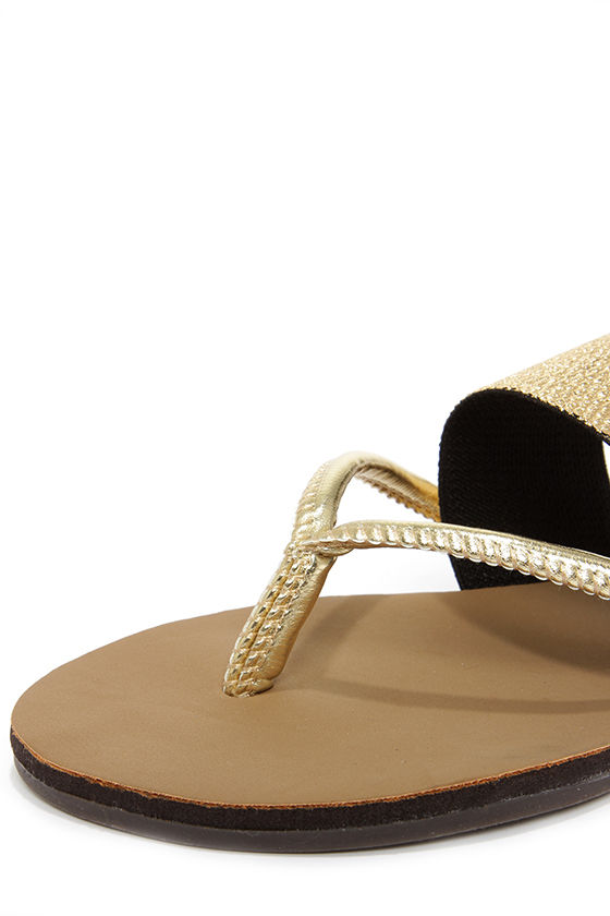 Dollhouse Expert Gold Flip Flops at Lulus.com!