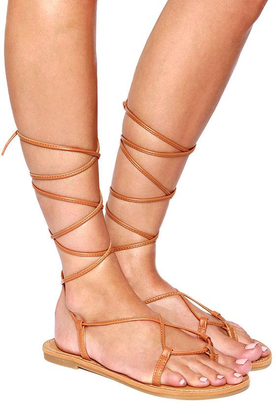 Cute Tan Sandals Leg Wrap Sandals 15 00