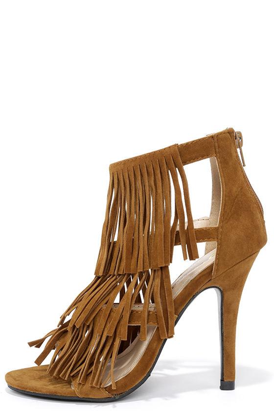 a19d3b1f55 Tan Heels - Fringe Heels - High Heel Sandals - $32.00
