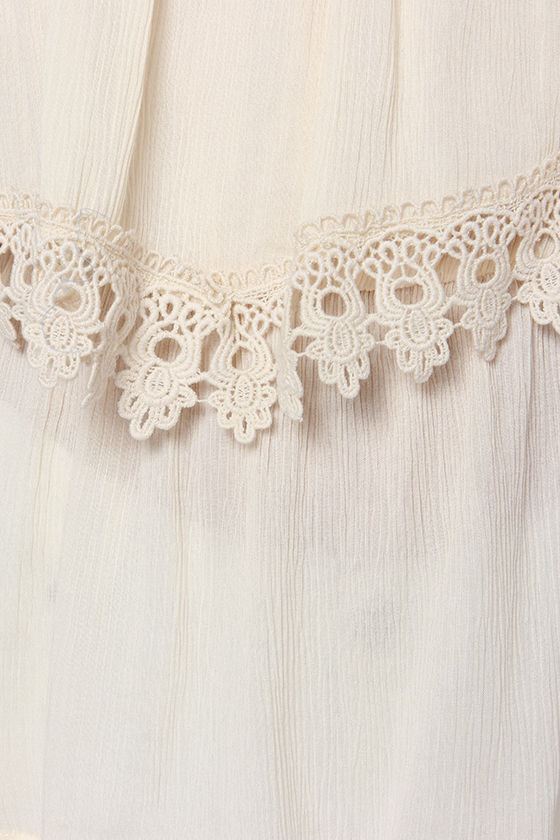 Dreamed a Dream Off-the-Shoulder Cream Lace Top at Lulus.com!