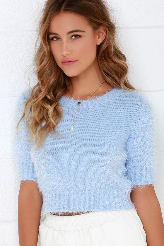 Cute Fuzzy Top Light Blue Top Crop Top Fuzzy Crop