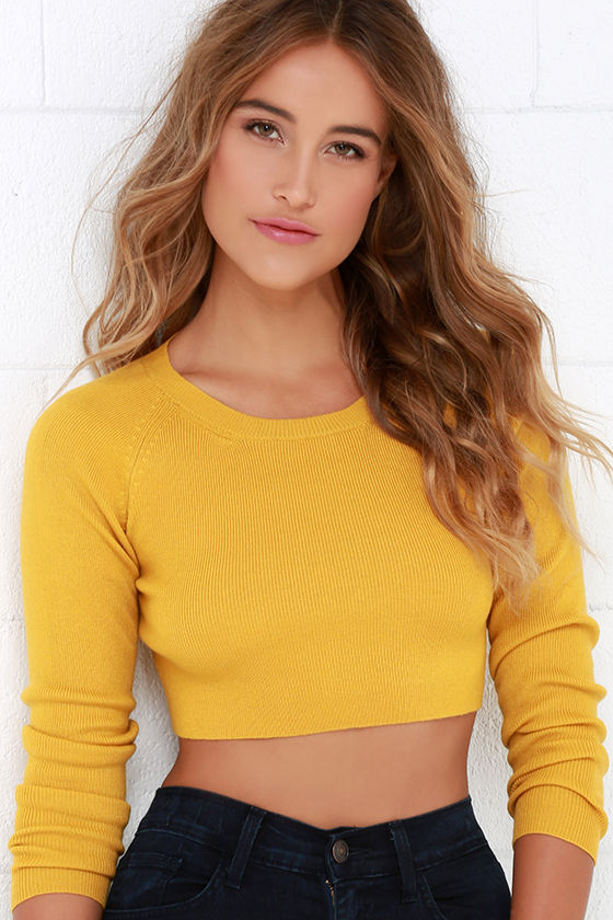 6fa64c75396c99 Cute Mustard Yellow Sweater - Crop Sweater - Crop Top -  45.00
