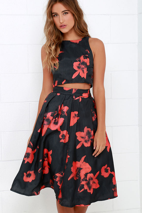 Two-Piece Dress - Floral Print Dress - Black and Red Dress - $74.00
