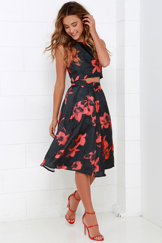 6e52f2c88486 Two-Piece Dress - Floral Print Dress - Black and Red Dress -  74.00