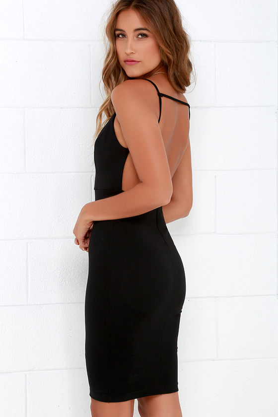 Sexy Midi Dress - Backless Dress - Black Dress - LBD - $48.00