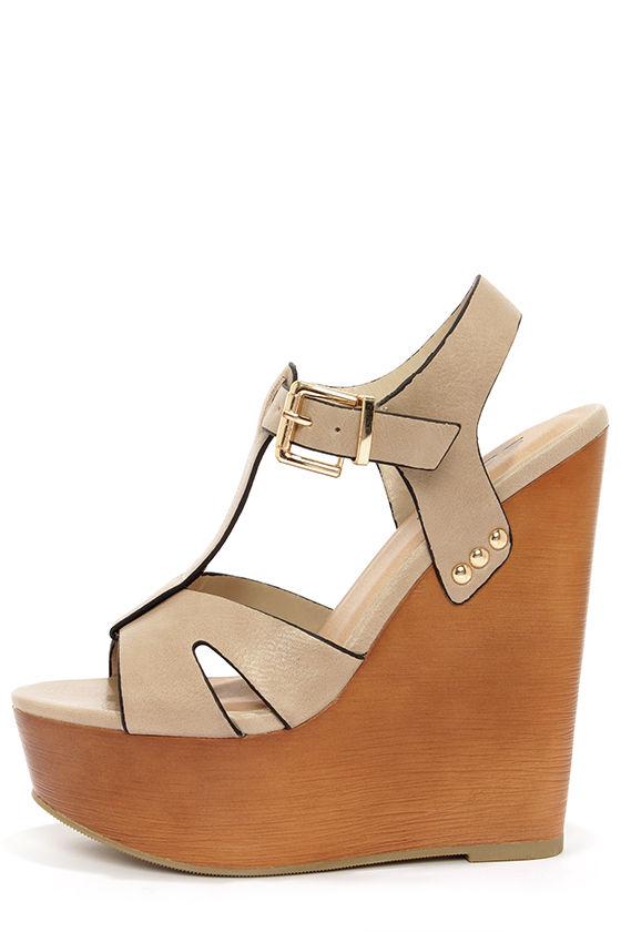 e5d0cc66014 Cute Beige Shoes - Platform Sandals - Wedge Sandals -  29.00 soda shoes  wedges