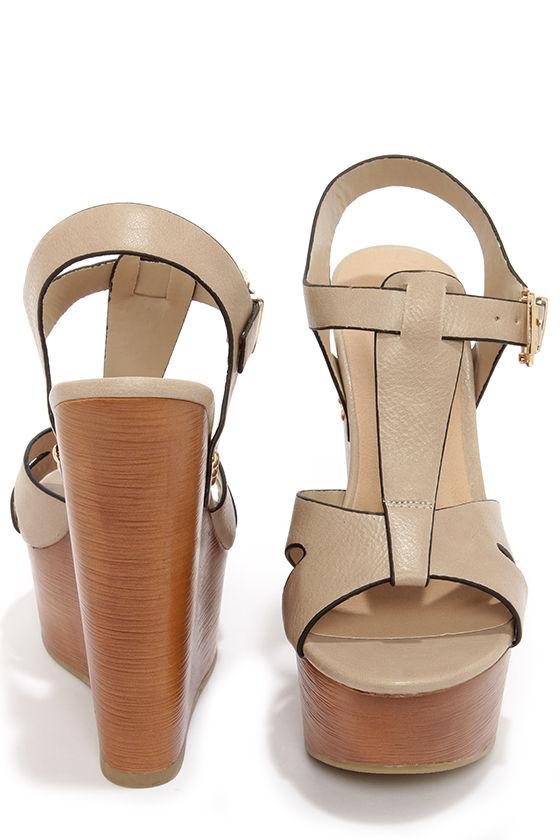 fc6eb2525d5 Cute Beige Shoes - Platform Sandals - Wedge Sandals -  29.00