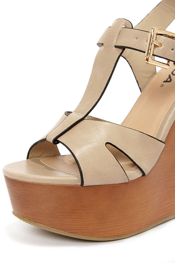 Soda Lasky Beige T Strap Platform Wedge Sandals at Lulus.com!