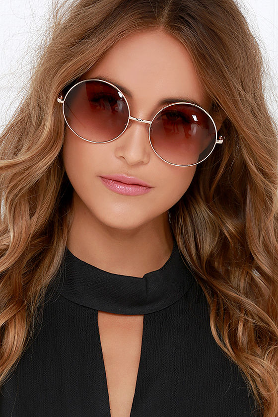 Lovely Boho Brown Sunglasses - Gold Sunglasses - Round Sunglasses - $12.00 GR16