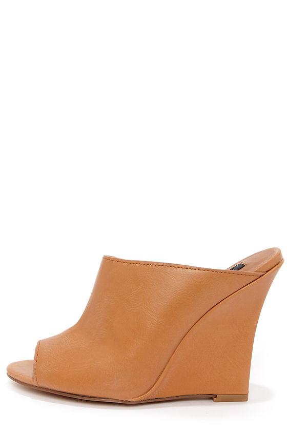 Cute Slide In Shoes Camel Wedges Mule Wedges 7400