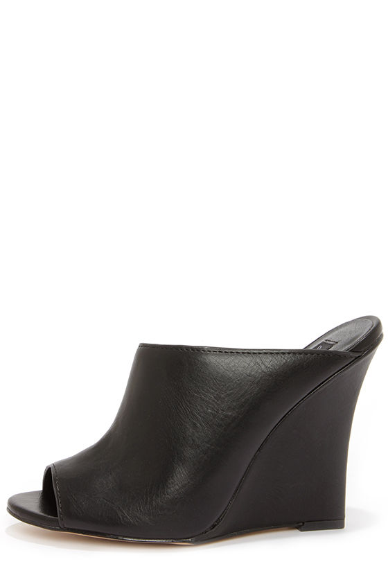 b9619837d4df Cute Slide-In Shoes - Black Wedges - Mule Wedges -  74.00