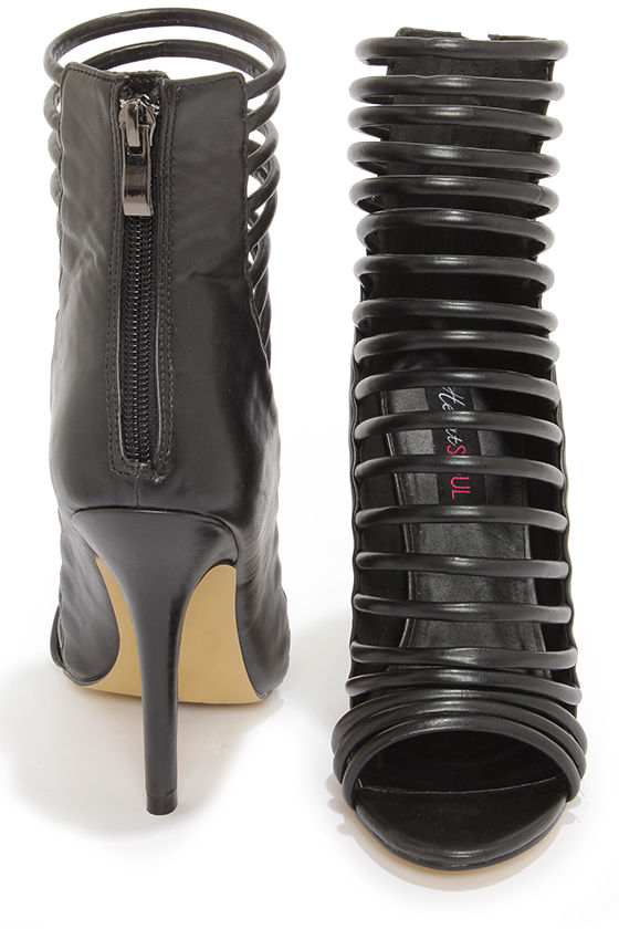 Heart Soul Paco Black Strappy High Heel Booties at Lulus.com!