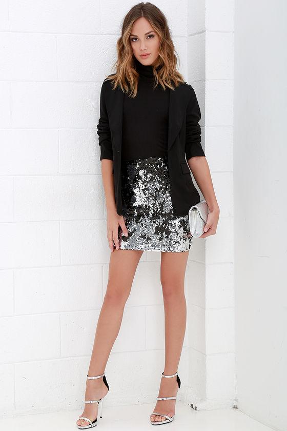 Lovely Silver and Black Skirt - Sequin Skirt - Mini Skirt ...