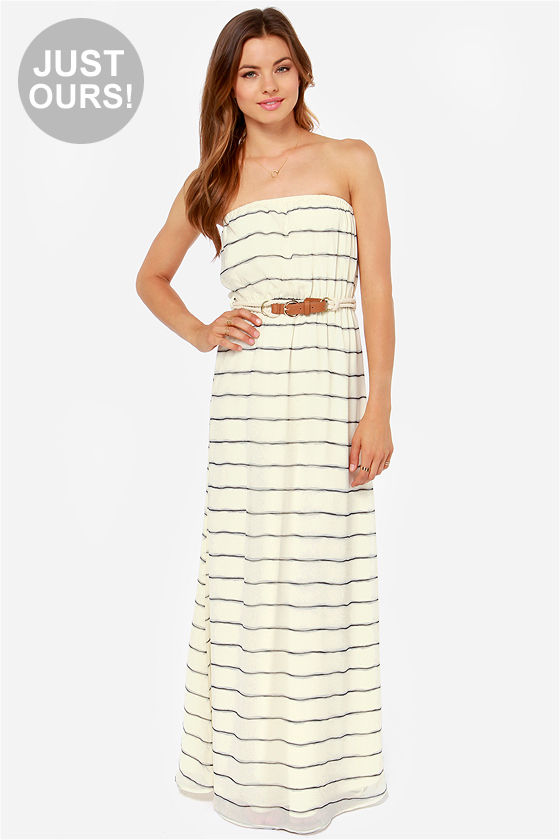 Cute Striped Dress - Maxi Dress - Cream Dress - Strapless Dress ...