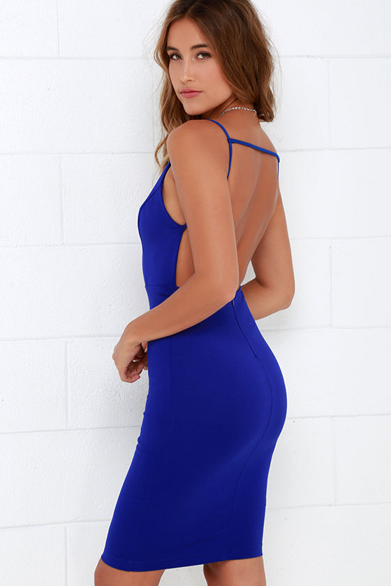Sexy Midi Dress - Backless Dress - Cobalt Blue Dress - $48.00