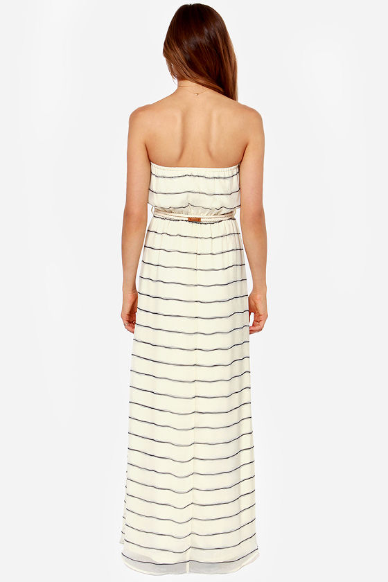 LULUS Exclusive Ready or Nautical Striped Cream Maxi Dress at Lulus.com!