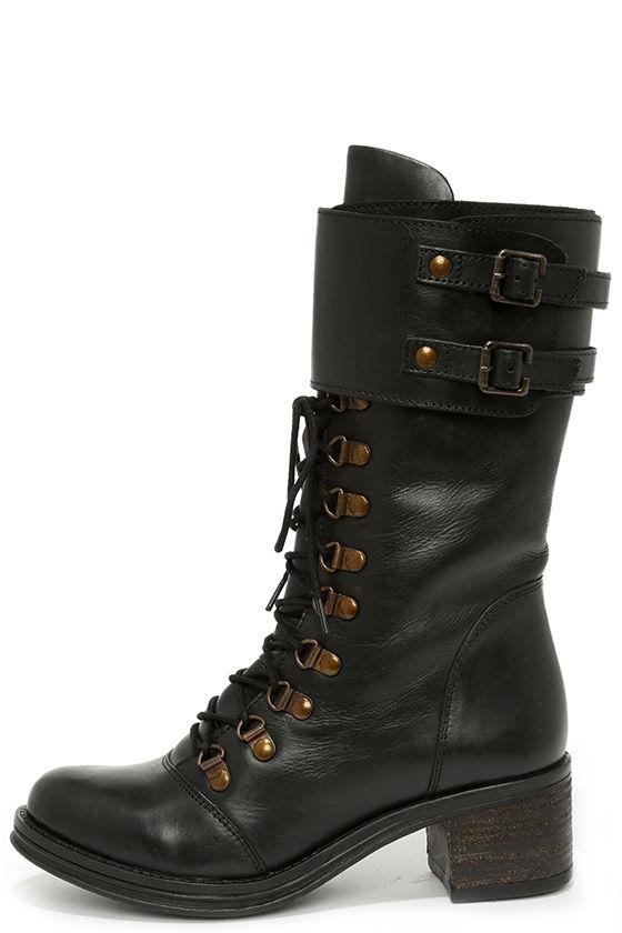 Cute Black Boots - Mid-Calf Boots - Combat Boots - $129.00