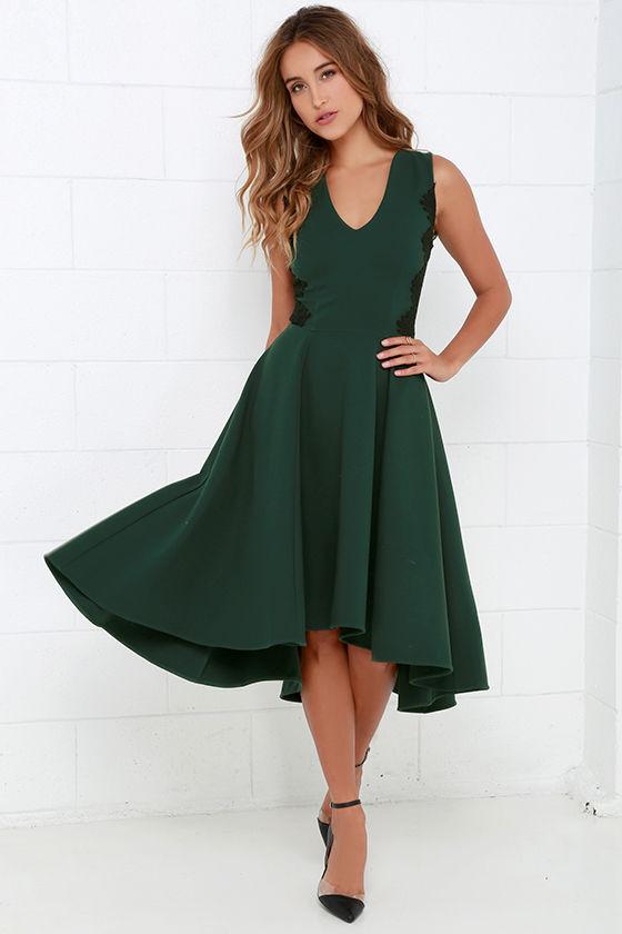 Lovely Dark Green Dress - Lace Dress - Midi Dress - High ...