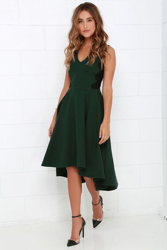 d936607d5d92 Lovely Dark Green Dress - Lace Dress - Midi Dress - High-Low Dress ...