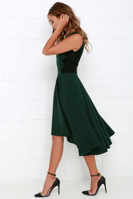 Hazel Room Service Dark Green Lace Midi Dress