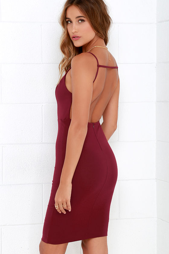 b8aefdc9 Sexy Midi Dress - Backless Dress - Burgundy Dress - $48.00