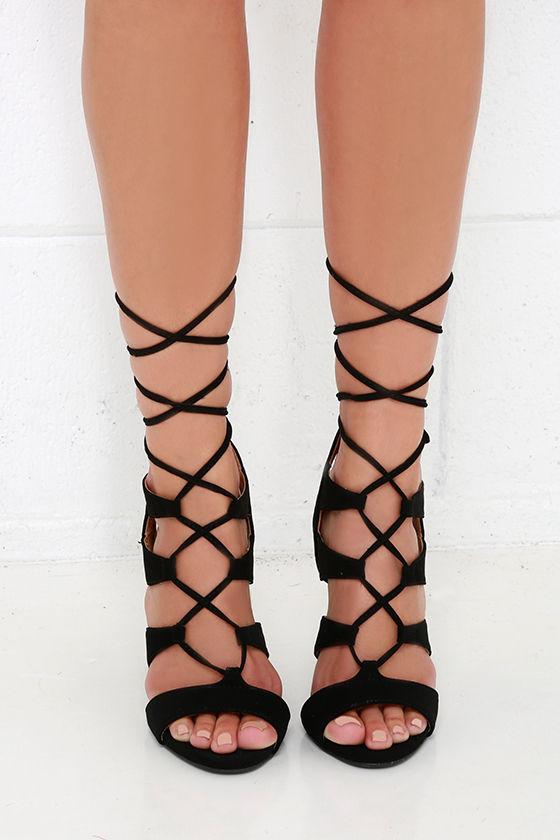 b9c6651474d Sexy Black Heels - Peep Toe Heels - Leg Wrap Heels - Lace-Up Heels ...