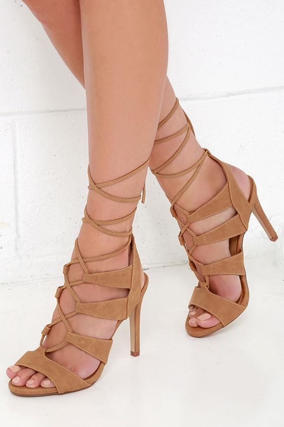 Sexy Tan Heels - Peep Toe Heels - Leg Wrap Heels - Lace-Up Heels ...