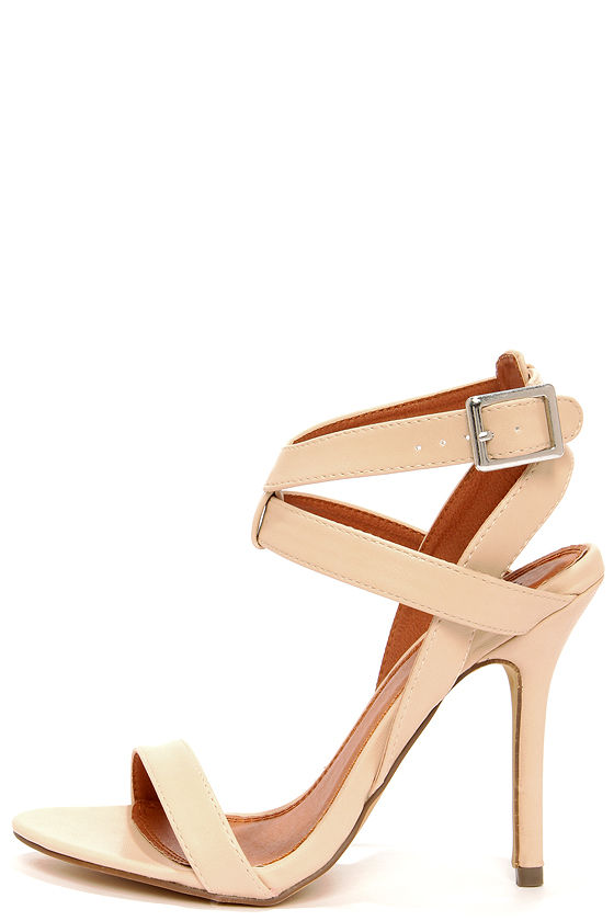 Sexy Nude Heels - Ankle Strap Heels - Dress Sandals - $32.00