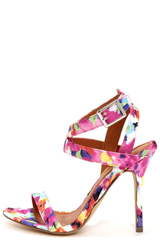 Sexy Floral Heels - Ankle Strap Heels - Dress Sandals - $32.00