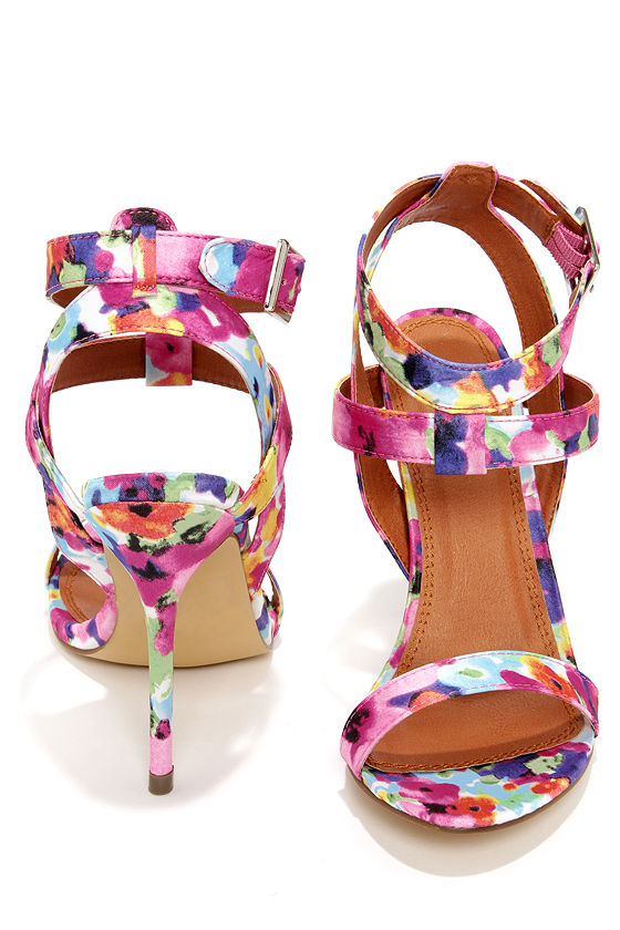 949d9104a Sexy Floral Heels - Ankle Strap Heels - Dress Sandals -  32.00