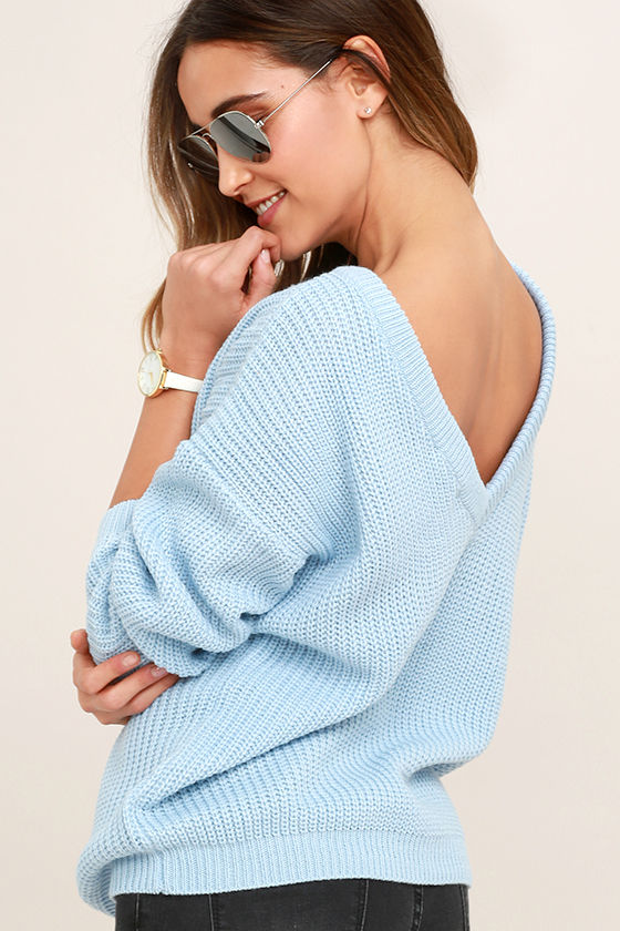 1b0687f15d Light Blue Sweater - Knit Top - Backless Sweater - Oversized Sweater -   48.00