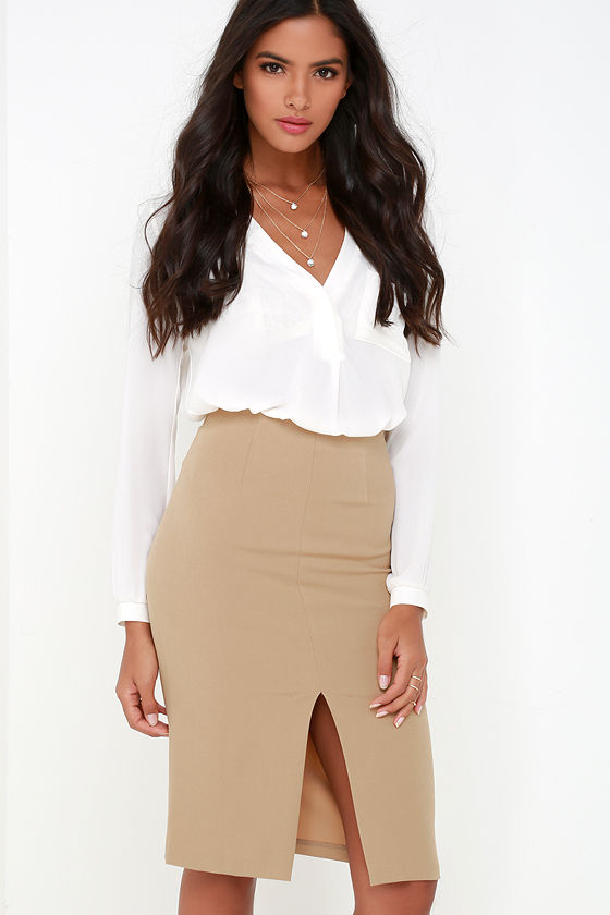 Classy Tan Skirt - Pencil Skirt - High-Waisted Skirt - $36.00