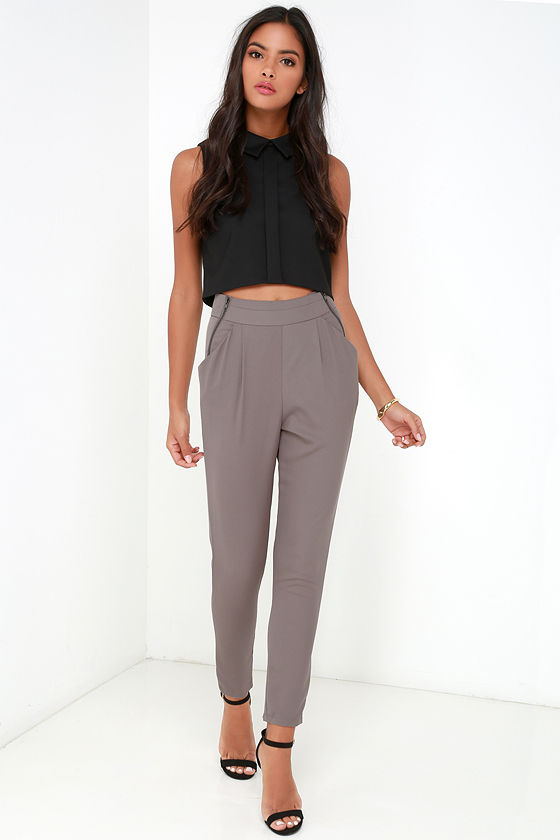 fa14bae489bf55 Chic Taupe Pants - Trouser Pants - Relaxed Trousers - $39.00