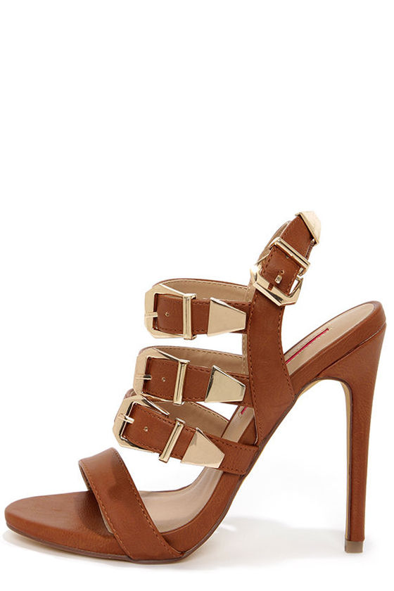 C Label Olive 17 Tan and Gold Buckled High Heel Sandals at Lulus.com!