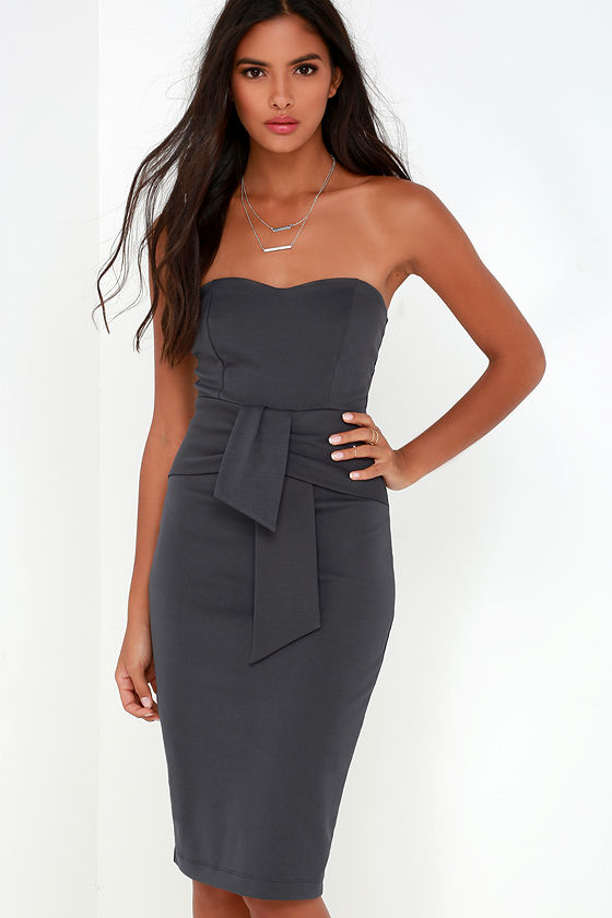 Sexy Dark Grey Strapless Dress - Midi Dress - Bodycon Dress - $58.00