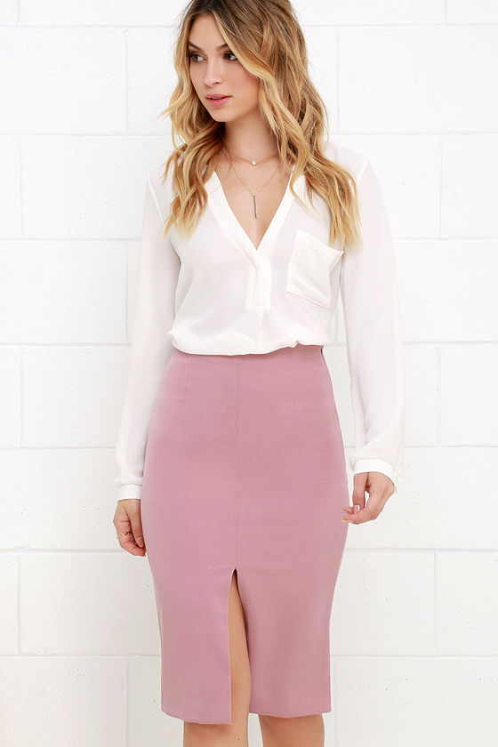 Classy Mauve Pink Skirt - Pencil Skirt - High-Waisted Skirt - $36.00